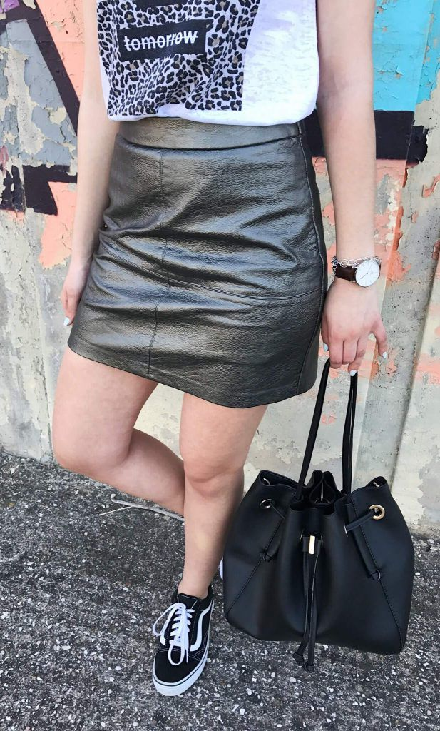 grey leather skirt