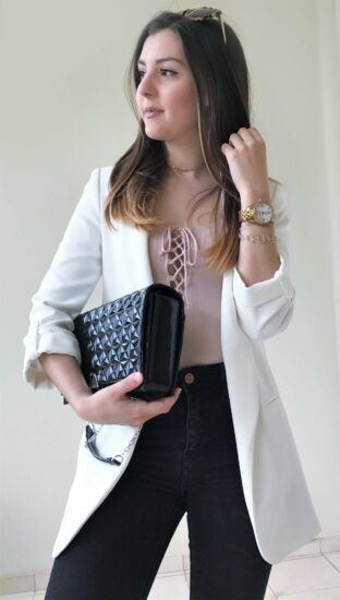 lace up top with blazer
