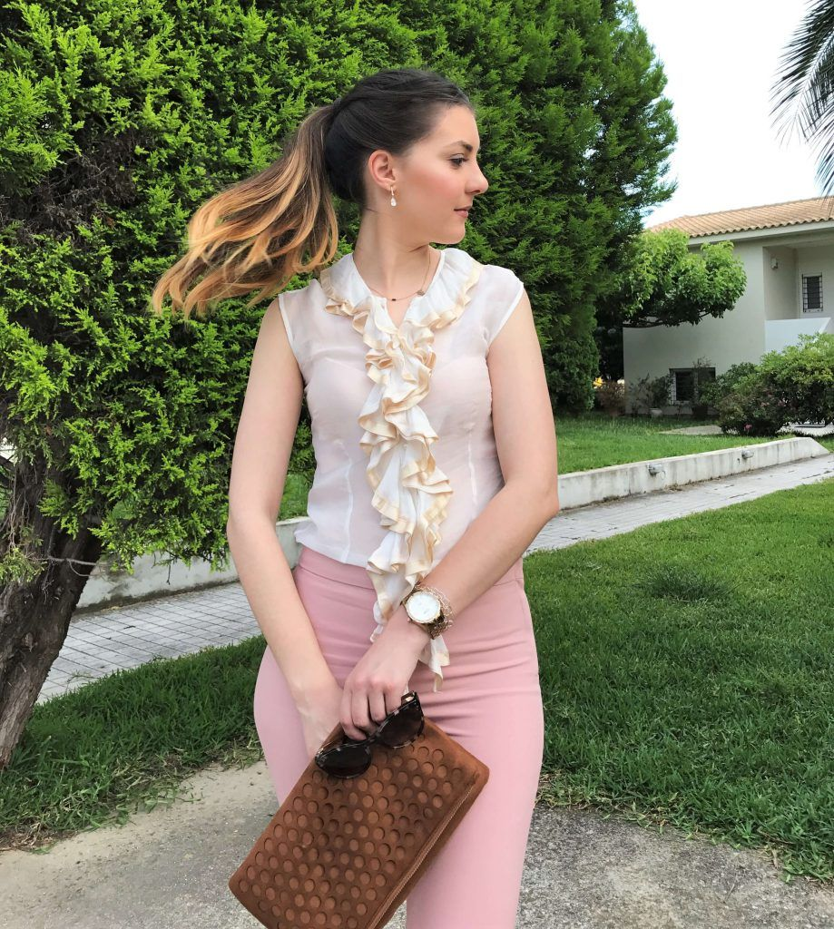 white ruffle shirt with pink pants