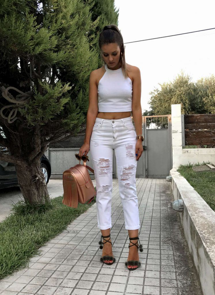 fur sandals white outfit