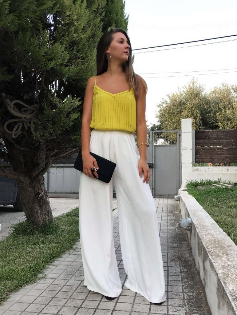 how to style white palazzo trousers