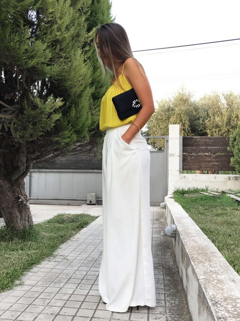 white pallazzo trousers outfit ideas