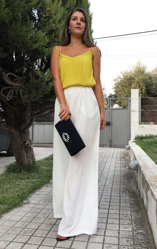 white pallazzo trousers outfit
