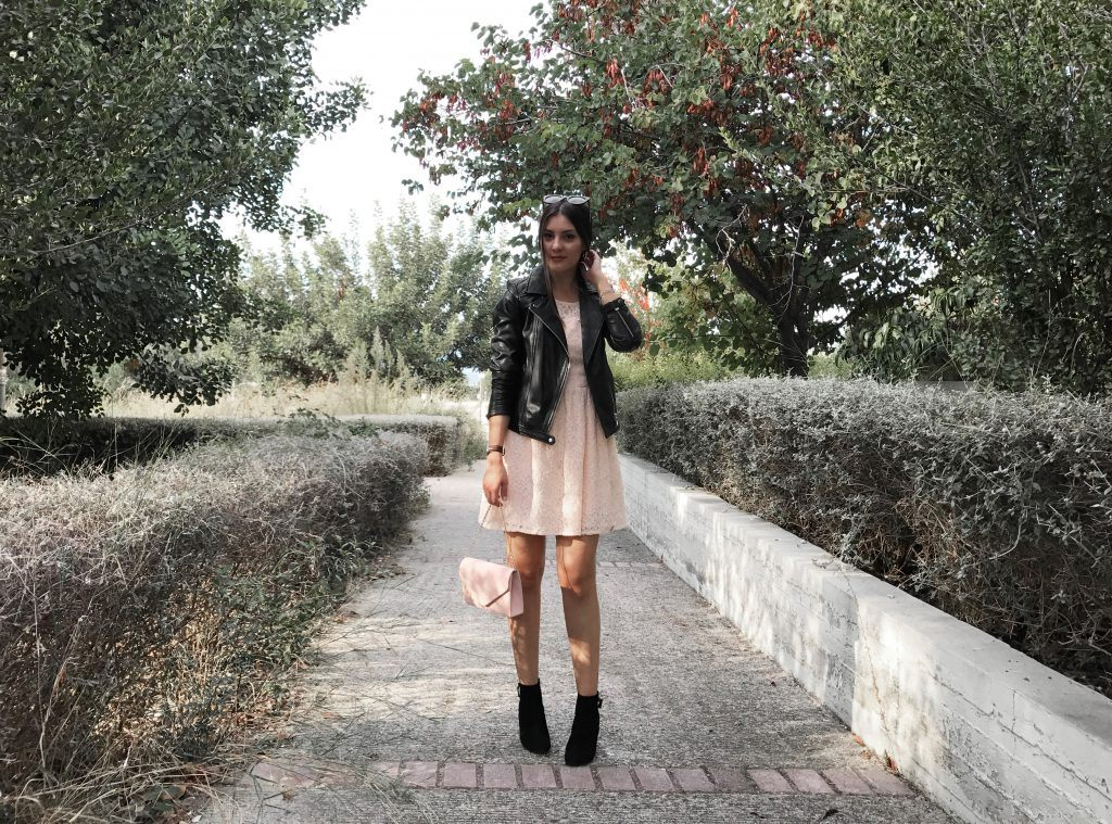 pink dress and leather jacket outfit