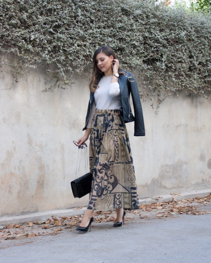 vintage maxi skirt outfit