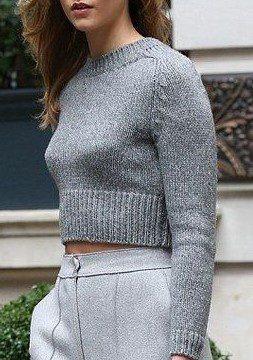 grey crop top sweater