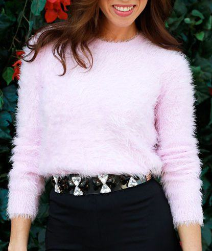 pink fluffy sweater look