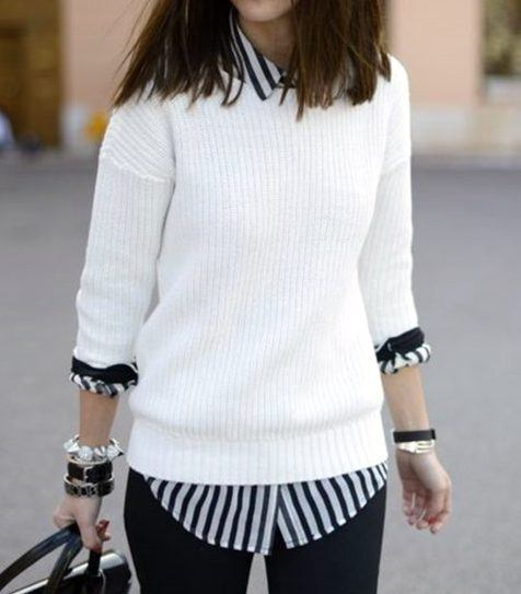 white fitted sweater look