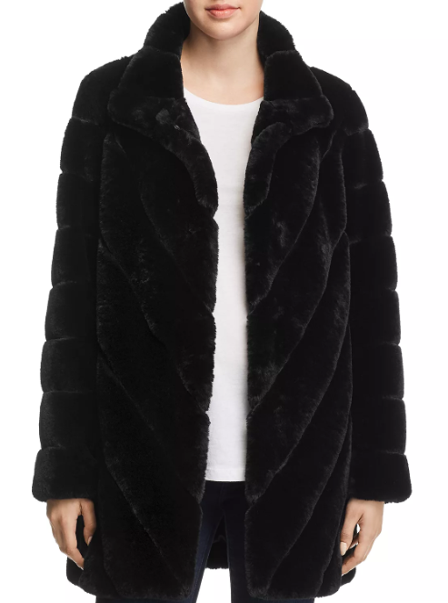 black faux fur coat under 200