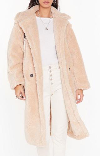 nude faux fur jacket