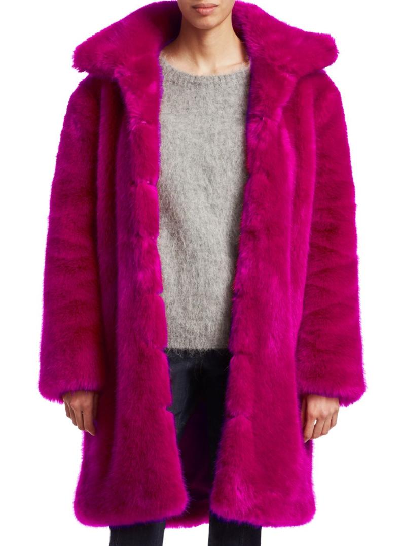 neon pink faux fur jacket