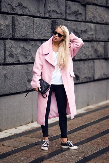 winter colorful coat look ideas