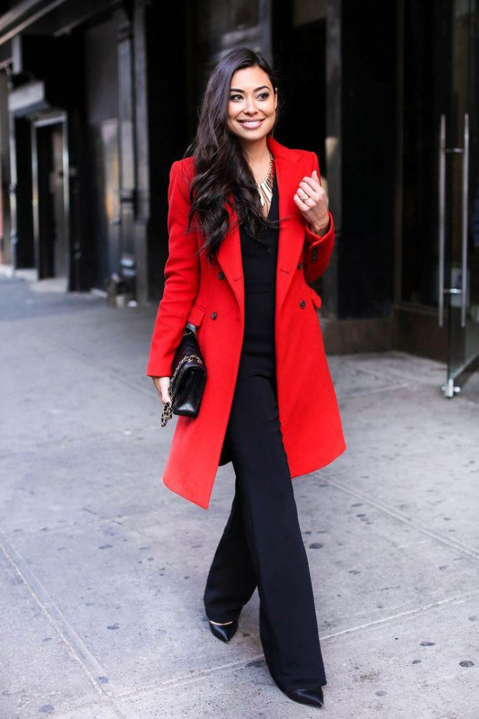 winter colorful coat look