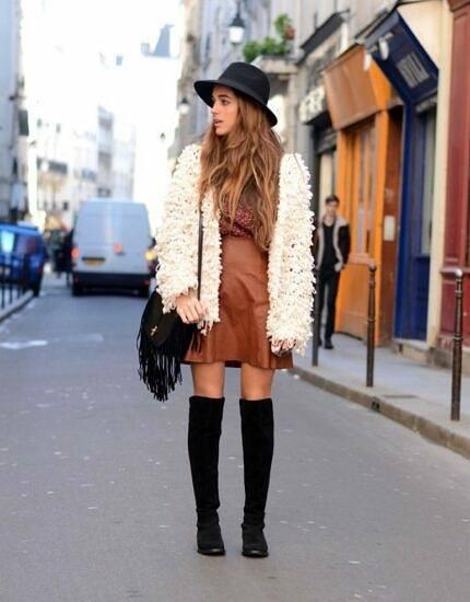 skirt with fluffy coat
