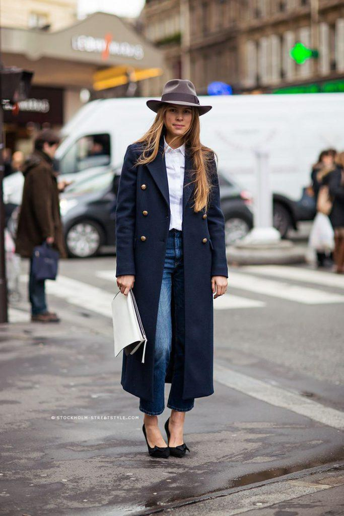 navy blue coat outfit idea