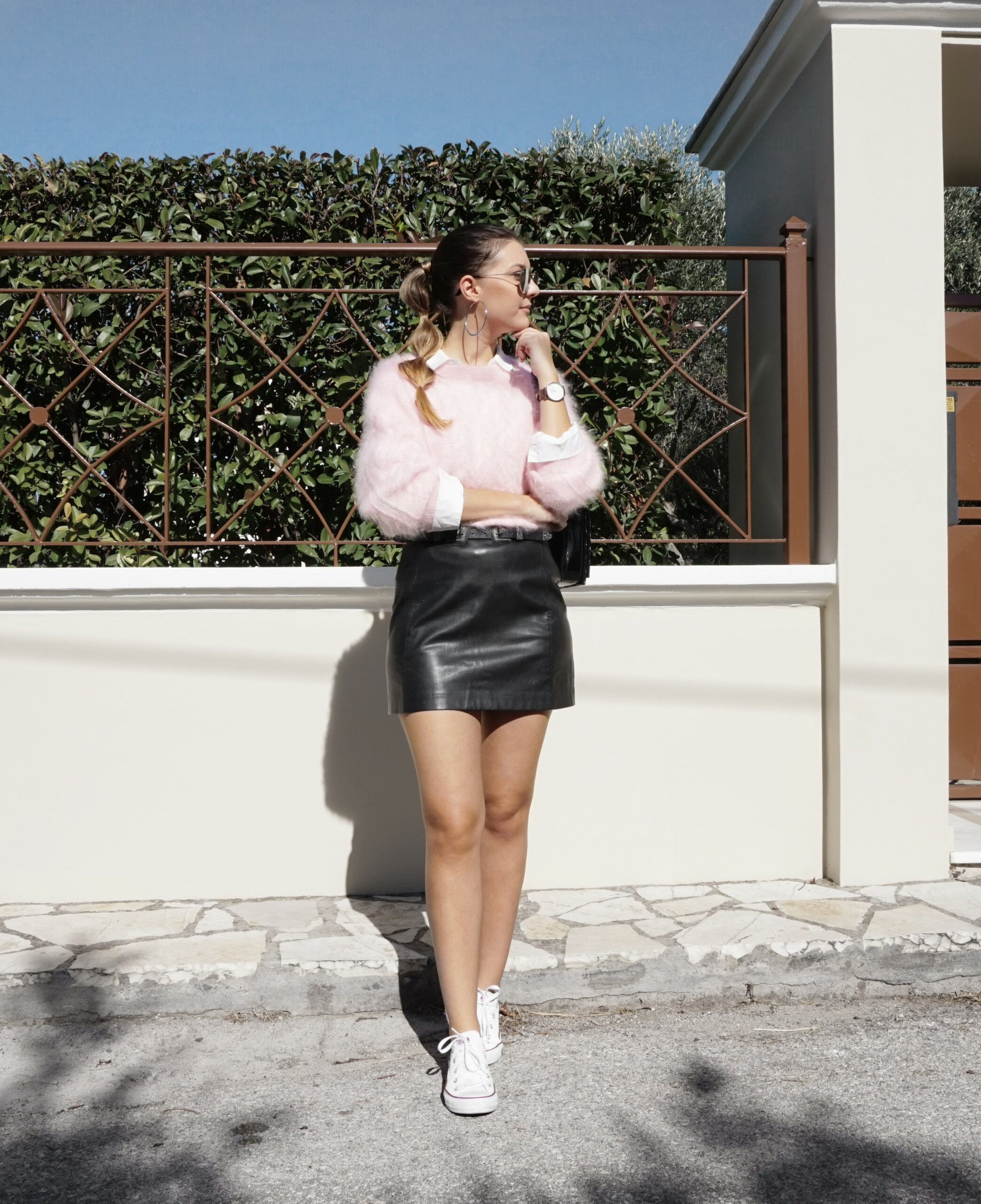 skirt with sneakers outfit