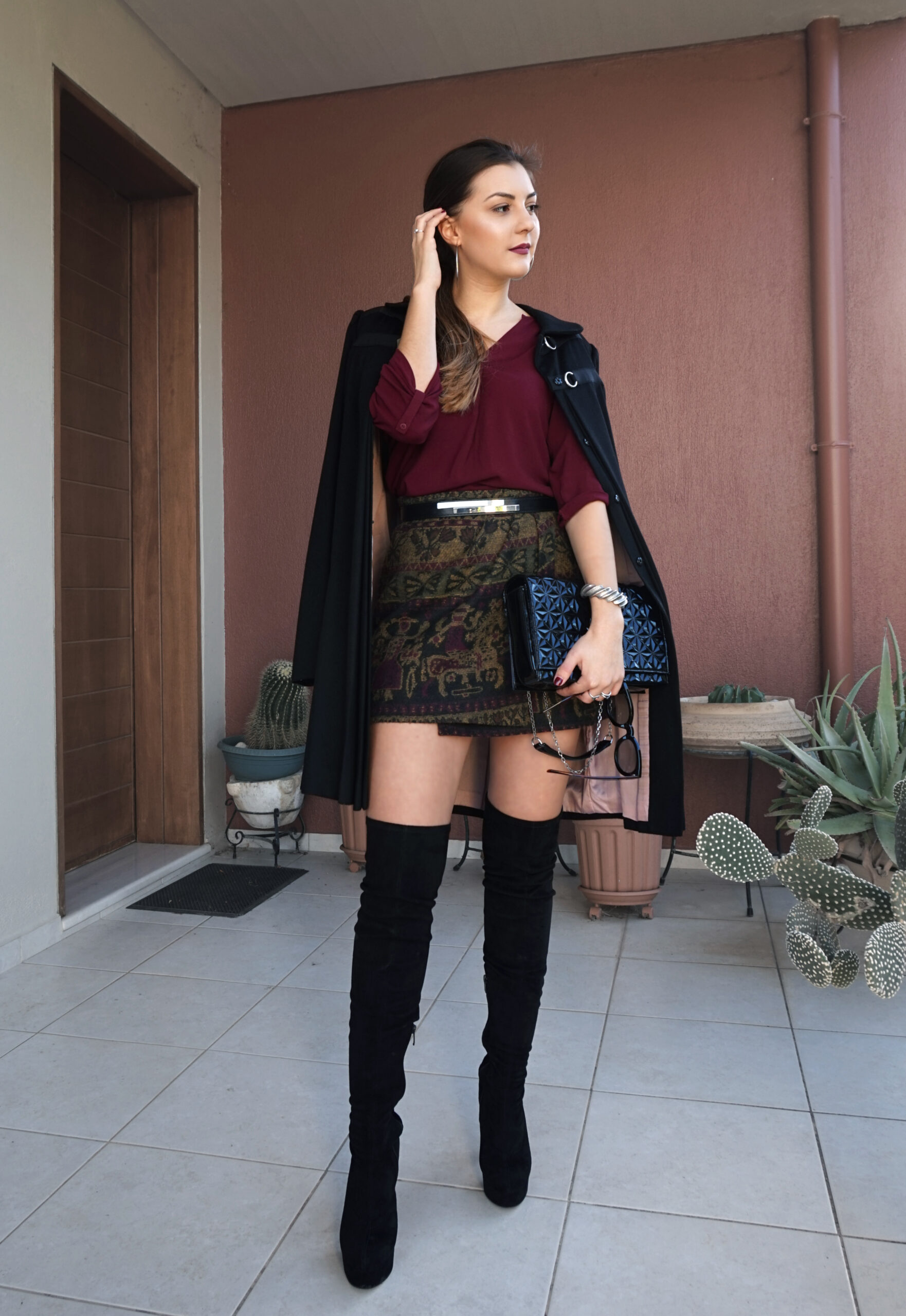 skirt with over the knee boots