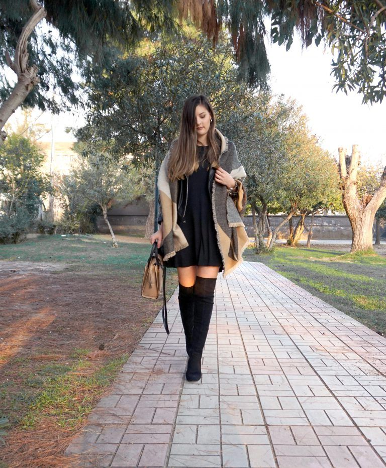 black over the knee boots outfit ideas