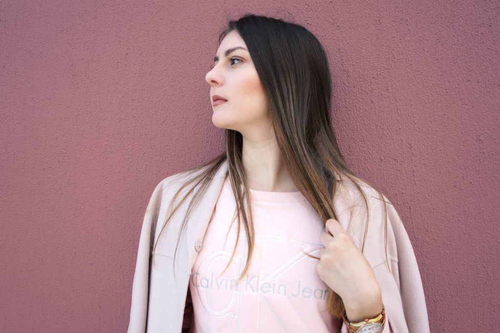 calvin klein pink sweater