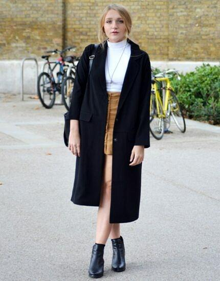 skirt with a long coat
