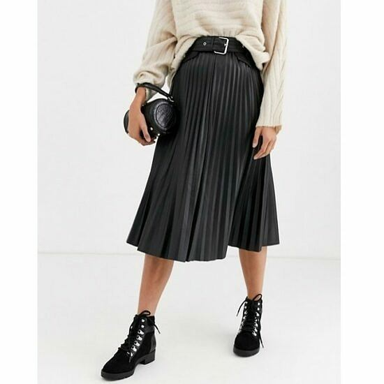 River Island faux leather pleated midi skirt in black