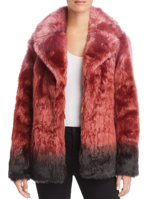 luxury faux fur jacket multicolored