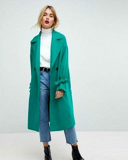 teal green coat