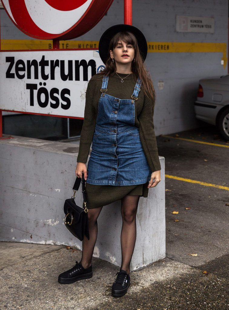 denim dungaree outfit