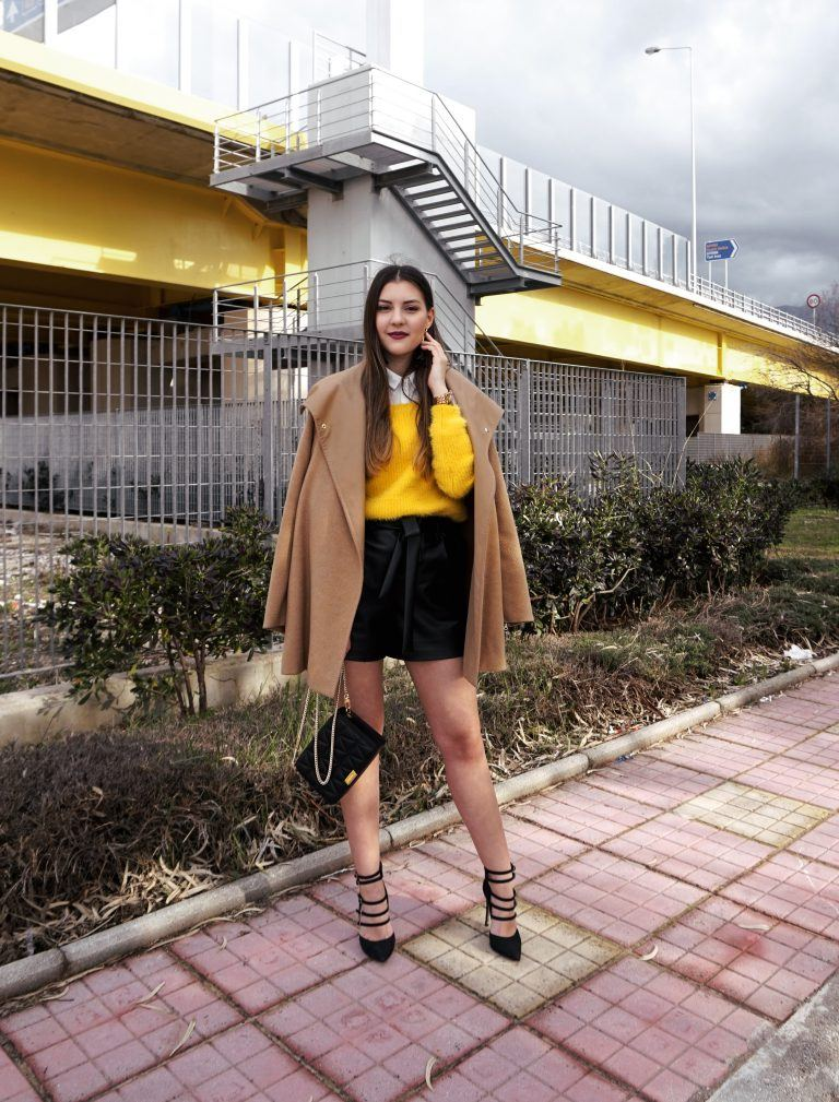 yellow knit outfit