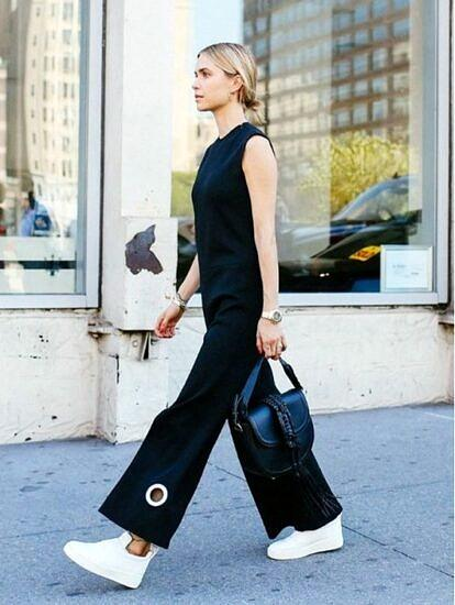 jumpsuit with sneakers look