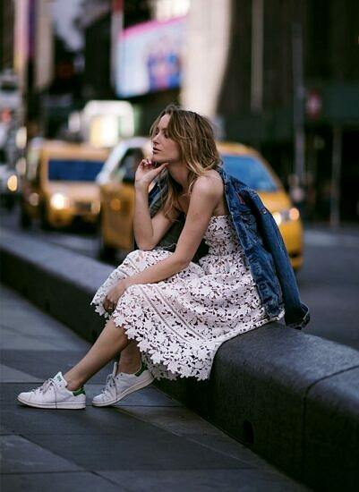 lace dress with sneakers