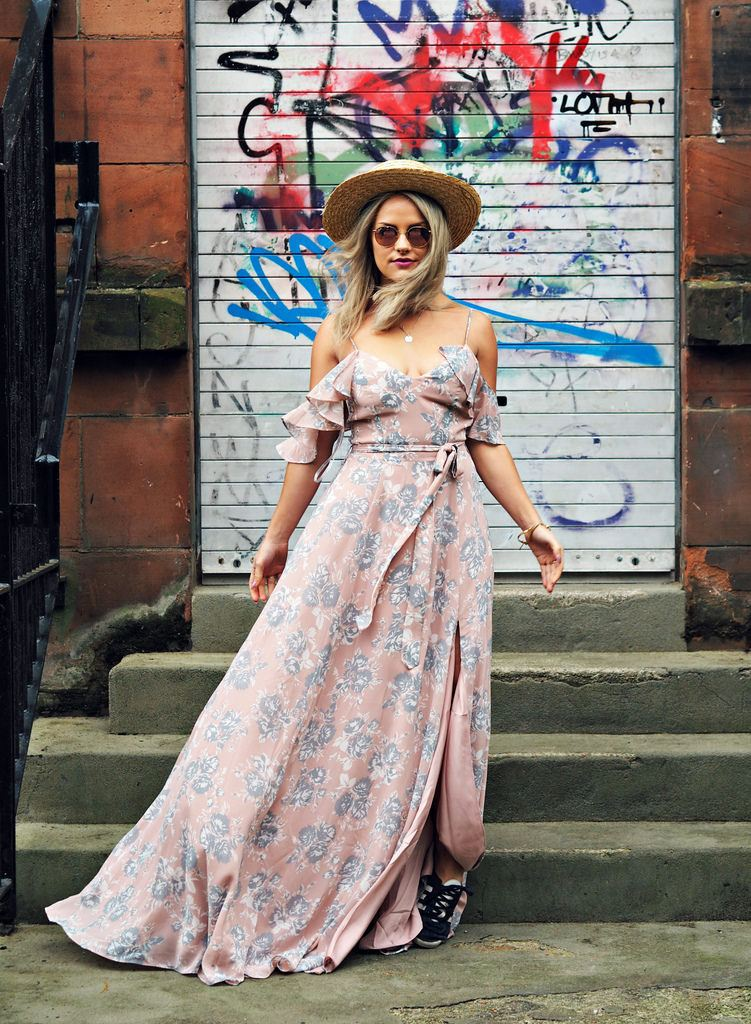 maxi floral dress with sneakers