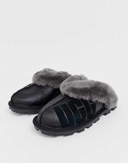 ugg black glitter slippers