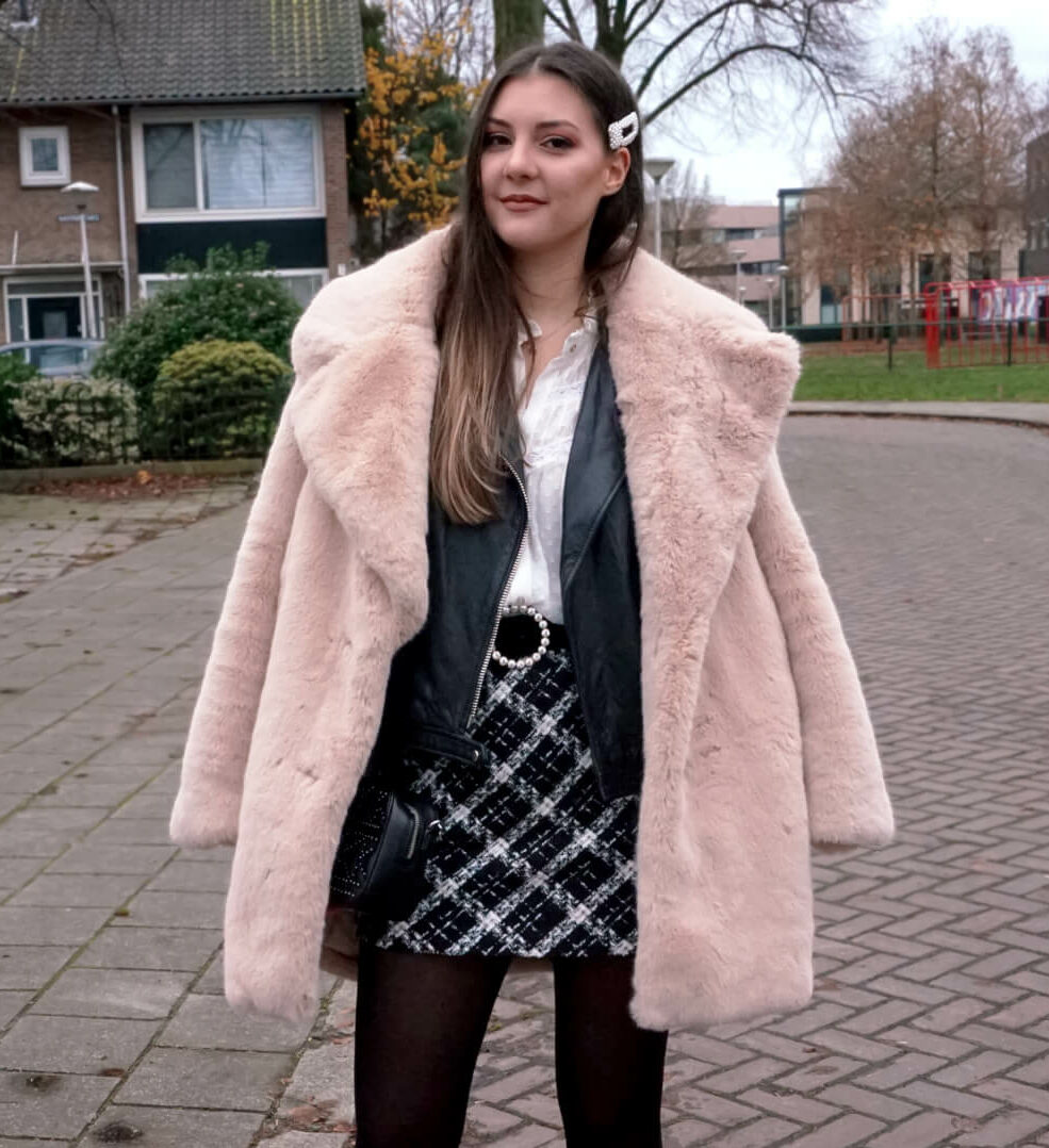 fluffy coat with leather jacket