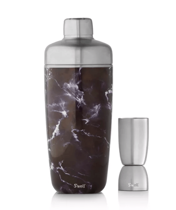 S'well 2-Piece Black Marble-Look Shaker & Jigger Set