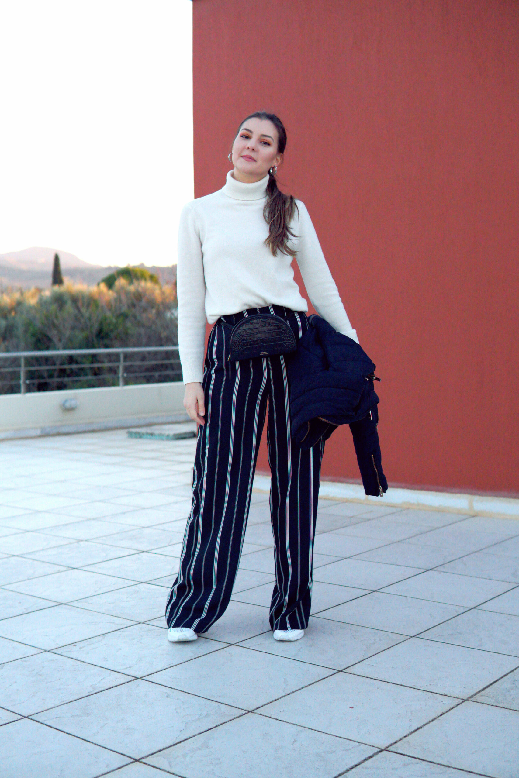 white turtleneck outfit ideas
